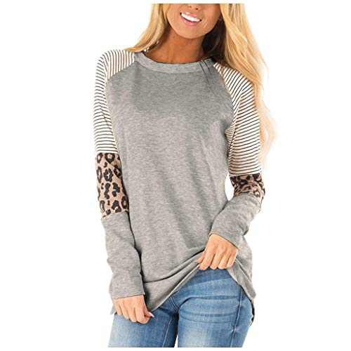 PLENTOP Women Autumn Pullover Blouse Leopard Striped Patchwork Long Sleeve Solid Color Loose Blouse Sweatshirt (Gray, L)
