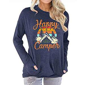 Womens Happy Camper Long Sleeve Tunic Shirt Letter Print Casual Pullover Tops Navy
