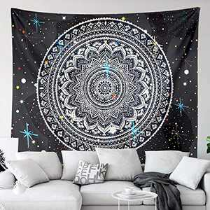 Mandala Star Tapestry Wall Hanging for Bedroom, Black and White Wall Tapestry Indian Hippie Bohemian Tapestries Living Room Dorm Decor Cloth 51 x 59 in …