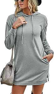 Margrine Women's Long Sleeve Winter Hoodie Dress Tie Dye Printed Drawstring Long Pullover Hooded Sweatshirts with Pockets Gray 2MA65-huise-M