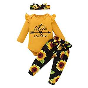 Baby Girl Outfits Floral Romper Little Sister Sunflower Bodysuits Tops Pants Bow Headband 3PCS