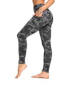 OXZNO High Waisted Yoga Pants for Women Lightweight Workout Running Compression Leggings with Pocket for Women(Deep Grey Camo,M)
