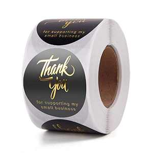 Thank You Stickers Roll | 1.5 Inch Thank You for Supporting My Small Business Stickers | 4 Designs Golden Front | 500 Labels for Business, Online Retailers, Boutiques, Shops | Ideal for Gift Package