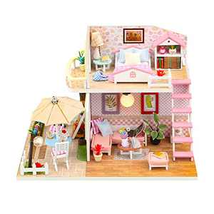 DIY Dollhouse Kit with Light Effect, 1:24 Scale Wooden DIY Miniature Dollhouse Kit Best Birthday Toy Gift