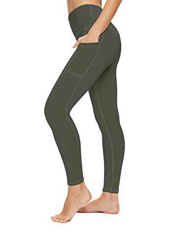OXZNO High Waisted Yoga Pants for Women Lightweight Workout Running Compression Leggings with Pocket for Women(Army Green,M)