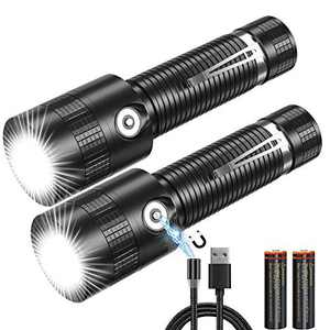 Rechargeable Flashlight, Waterproof Flashlights with Magnetic Charger Cable(Battery Included), 1000lumen, Pocket-Sized, High Lumen Cree LED Tactical Torch Clip-on Flashlights, 2Pack