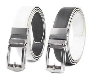 """Mens Handcrafted Leather Belt, with Reversible Buckle and No Holes Strap, Casual and Dress in One Belt (White/Grey 1239, 44"""")"""