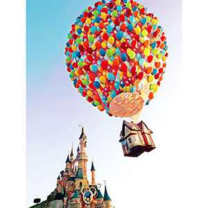 Diamond Painting Kits for Adults Kids, DIY 5D Full Round Drill Crystal Rhinestone Diamond Art Pictures by Number for Relaxation and Home Wall Decor (Castle Hot Air Balloon,16x12 Inches)