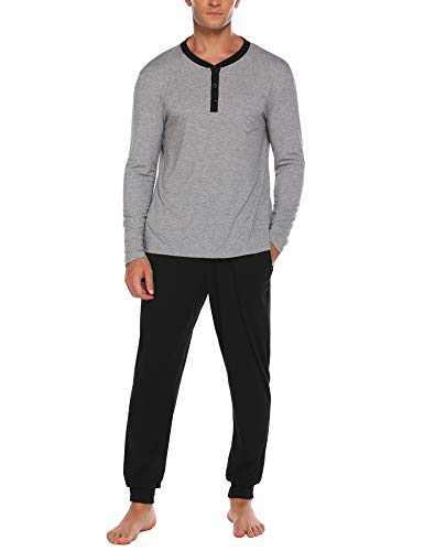 Ekouaer Men Sleepwear Long Sleeve Nightwear V-Neck Sleep Set 2 Piece Lounge PJ Set,Light Gray,XX-Large