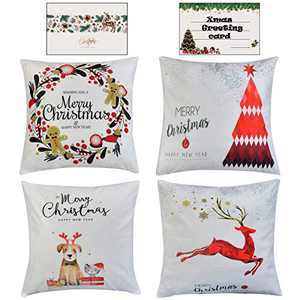 HAYZUSZ Throw Pillow Covers 18x18 Inch Set of 4 Super-Soft Velour Christmas Decorative Square Cushion Pillows Covers for Couch Sofa Bed with Invisible with Zipper Gift of Xmas Greeting Card