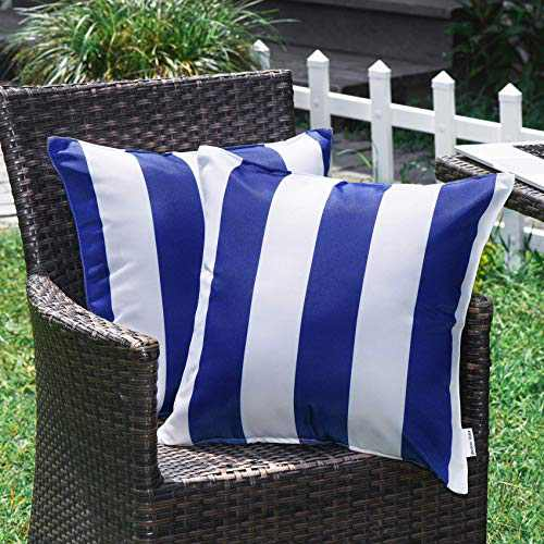 WESTERN HOME WH Outdoor Pillow Covers 18x18 Waterproof, Stripe Square Pillowcases Patio Throw Pillow Covers Cushions for Couch Bench Tent Garden - Pack of 2 Pillow Covers Blue