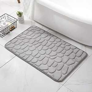 Decorus Bath Mats for Bathroom, Bath Floor Mat Rugs with Cobblestone Shaped Bath Rug Grey Memory Foam Bathmat Carpet Excellent Water Absorption Comfortable Ultra Soft Machine Washable