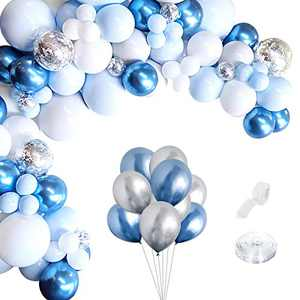Blue Balloon Arch Garland Kit - 54 Pieces White Blue Pastel Pink and Silver Confetti Latex Balloons for Baby Shower Wedding Birthday Graduation Anniversary Bachelorette Party Background Decorations