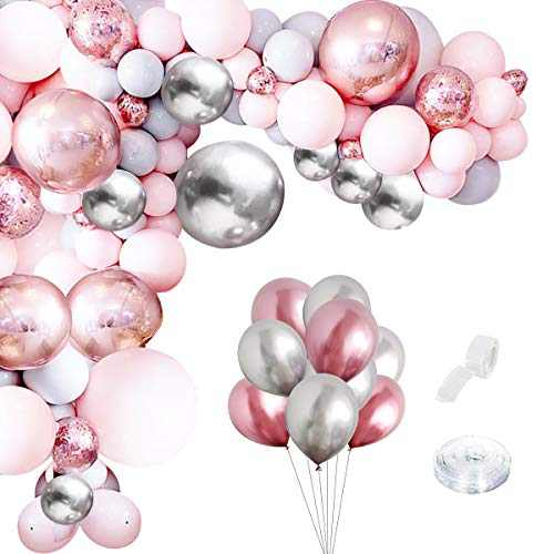 Pink Balloon Garland Arch Kit - 55 Pieces White Pink Silver and Macaron Blue Latex Balloons for Baby Shower Wedding Birthday Graduation Anniversary Bachelorette Party Background Decoration