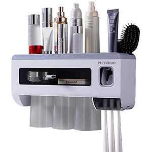PIFFZEDO Large Capacity Waterproof Toothbrush Holder Dustproof Toothbrush Organizer Automatic Toothpaste Dispenser Space-Saving Bathroom Shelves Wall-Mounted Toiletries Cosmetics Storage Rack 3Cups