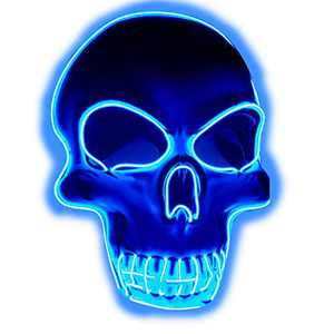 Halloween Purge Mask Light Up Scary Mask EL Wire LED Mask for Festival Party Gifts (Skull-Blue)