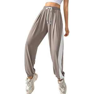 Uzsoeey Women's Running Jogger - Lightweight Sweatpants with Elastic Waist and Pockets,Quick Dry Athletic Pants, Khaki, S