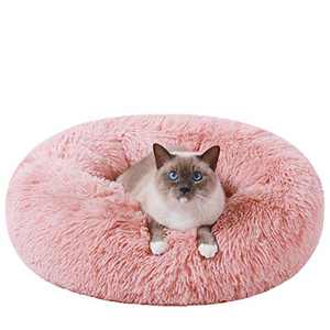 HACHIKITTY Calming Cat Bed Machine Washable, Cat beds Indoor Cats Large, Flush Faux Fur Donut Cat Bed