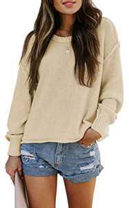 TARSE Womens Drop Shoulder Crewneck Sweater Long Loose Lantern Sleeve Pullover Tops, Lightapricot, XL