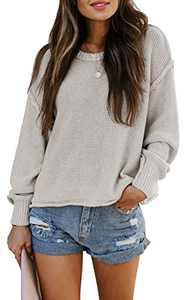 TARSE Womens Drop Shoulder Crewneck Sweater Long Loose Lantern Sleeve Pullover Tops, Beige, M