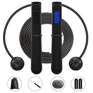 Skipping Rope, Jump Rope for Fitness Black Corded Cordless with Digital Time Calorie and Laps Counter, for Exercise Workout Indoor and Outdoor, for Adults Men Women, Kids