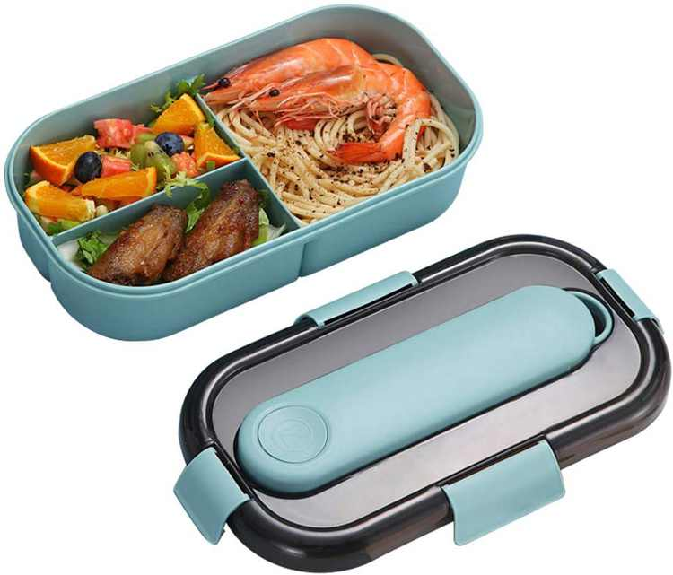 Bento Box Leak-Proof, ZoneYan Lunch Box 3 Compartments and Cutlery Set, Kids Adults Bento Box Leakproof Lunch, Portable Lunch Bento Box, Safe (Blue and Pink) (Blue)