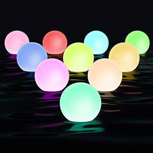 Chakev Floating Pool Light with Timer, 3-inch IP67 Waterproof Bathtub Orb Light, 16RGB Color Changing LED Night Balls Hot Tub Bath Toys with 6 Extra Batteries for Pool Decor Outdoor Indoor (10Packs)