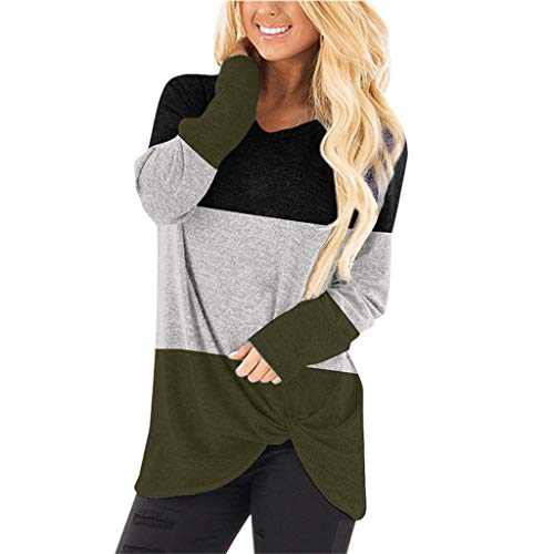 DKKK Tunic Tops for Leggings for Women Long Sleeve Shirts Crew Neck T Shirt with Tie Plain Knit Flared Bottom Fit Loosely Fall Clothes Casual Maternity Tunic Black Green M