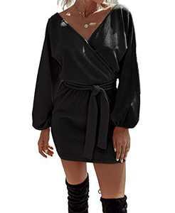 Women Lantern Sleeve V Neck Elegant Knitted Tie Waist Sweater Mini Dress Black XL