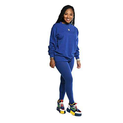 Women's 2 Piece Outfits Sweatsuit Set - Long Sleeve Pullover Sweatshirts Skinny Long Pants Tracksuits Jogging Suits Jumpsuits,Blue,Small