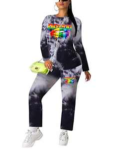 Casual Two Piece Outfits for Women Crew Neck Tie Dye Long Sleeve Active Tracksuit Sweatsuit Loungwear Set