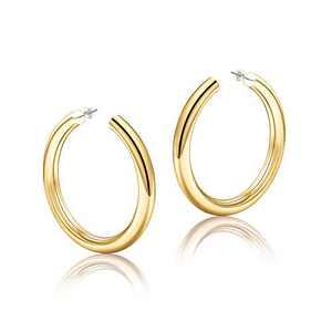 Gold Hoop Earrings for Women, 14K Gold Plated Lightweight Chunky Big Open Hoops 50mm Gold Hoop Earrings for Women