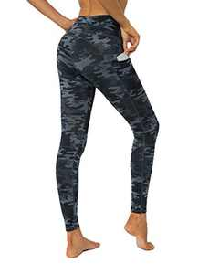 YUANRANER Leggings for Women High Waisted Workout Athletic Tummy Control Yoga Pants Compression Running Leggings with Pockets Deep Grey Camo-XXL IU411