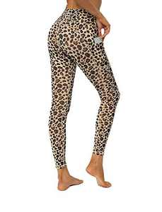 YUANRANER Leggings for Women High Waisted Workout Athletic Tummy Control Yoga Pants Compression Running Leggings with Pockets Yellow Leopard-XL IU411