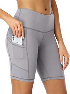 "Summer Mae Women 8"" High Waist Yoga Shorts with Side Pockets Workout Biker Running Athletic Shorts Grey Small"
