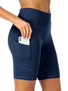 "Summer Mae Women 8"" High Waist Yoga Shorts with Side Pockets Workout Biker Running Athletic Shorts Navy Blue Medium"