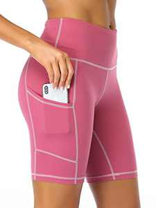 "Summer Mae Women 8"" High Waist Yoga Shorts with Side Pockets Workout Biker Running Athletic Shorts Pink Small"