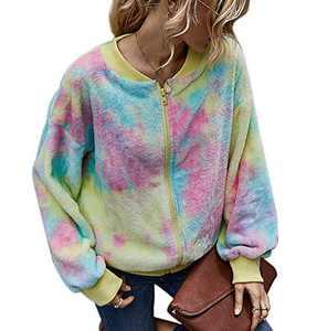 Womens Tie Dye Print Fleece Jacket Zipper Up Sweatshirt Casual Fuzzy Long Sleeve Tops Outwear with Pocket Pink