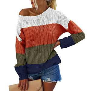 OWIN Women's Casual Striped Color Block Knit Sweater Long Sleeve Crew Neck Loose Pullover Tunic Blouse Tops