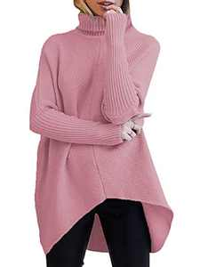 Boncasa Women Casual Pullover Sweater Long Sleeve Oversized Turtle Neck Knitwear Jumpers Tops Pink B8C7-pifen-XS