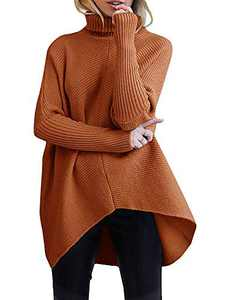 Boncasa Women's Turtle Neck Long Bat Wing Sleeve Asymmetric High Low Hem Extra Soft Sweater Fall Jumper Pullover Rust B8C7-zhuanhong-XS