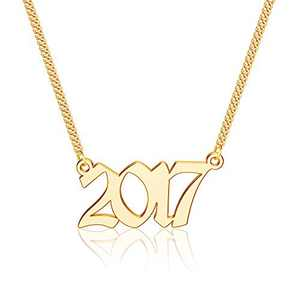 Ursteel 2017 Necklace, Year of Birth, Year of Marriage, Year of Graduation Year Number Old English Necklaces for Daughter Granddaughter Niece