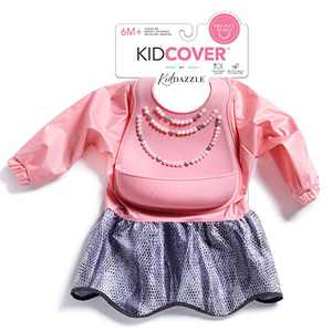 KidDazzle Precious Pearls Sleeved KidCover- Pink Baby Girl Silicone Bib, Adjustable Size, Waterproof and Stain Resistant to Baby Food, 6 Months + (Precious Pearl)