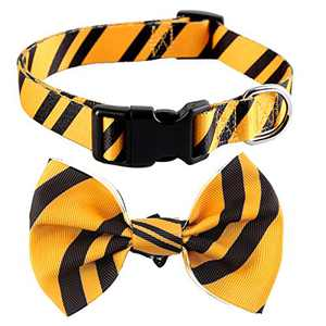 Impoosy Halloween Bowtie Dog Collars Adjustable Quick Release Buckle Cute Pet Collar with Bow for Small Medium Large Dogs Cats (X-Large,Yellow)