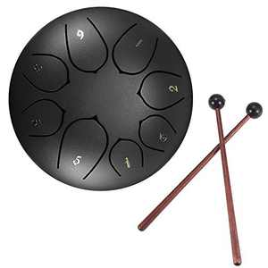 Steel Tongue Drum, DDSKY 6 Inch 8 Notes Lotus Type Handpan Drum Percussion Instrument Steel Drums Instruments with Bag Mallets Mallet Bracket for Mind Healing Yoga Meditatio (Black)