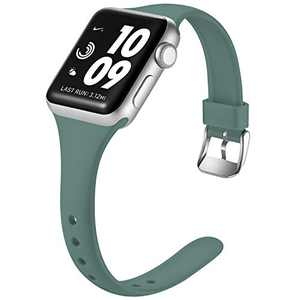 Laffav Band Compatible with Apple Watch 42mm 44mm for Women Men Durable Soft Silicone Sport Slim Replacement Strap Compatible with Apple Watch SE & Series 6 & Series 5 4 3 2 1, Pine Green, S/M