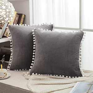 "JAUXIO Soft Crystal Velvet Throw Pillow Covers 2 Pack with Pom Poms Decorative Fringes Solid Cushion Cover for Home Decor (Dark Grey, 20""x20"")"
