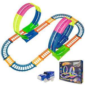 BeebeeRun Kids Race Car Track Sets, Flexible Train Tracks for Toddlers with LED Toy Car, Glow in The Dark Race Track Vehicle Playset for Boys and Girls