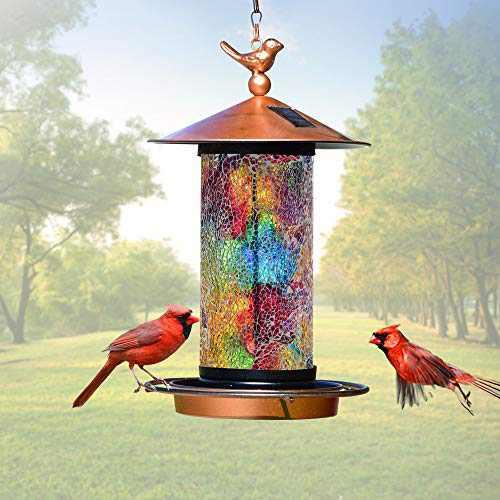 XDW-GIFTS 2020 Newest Solar Wild Bird Feeder Hanging for Garden Yard Outside Decoration, Waterproof Mosaic Lantern Design Feeder for Birds, Solar Bird Feeder as Gift Ideas for Bird Lovers(13 Inches)
