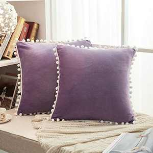 """JAUXIO Soft Crystal Velvet Throw Pillow Covers 2 Pack with Pom Poms Decorative Fringes Solid Cushion Cover for Home Decor (Purple, 20""""x20"""")"""